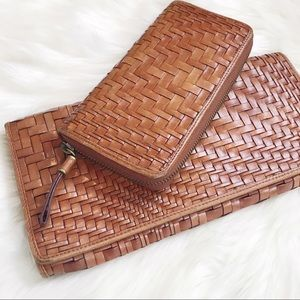 COLE HAAN GENEVIEVE Leather Woven Clutch & Wallet